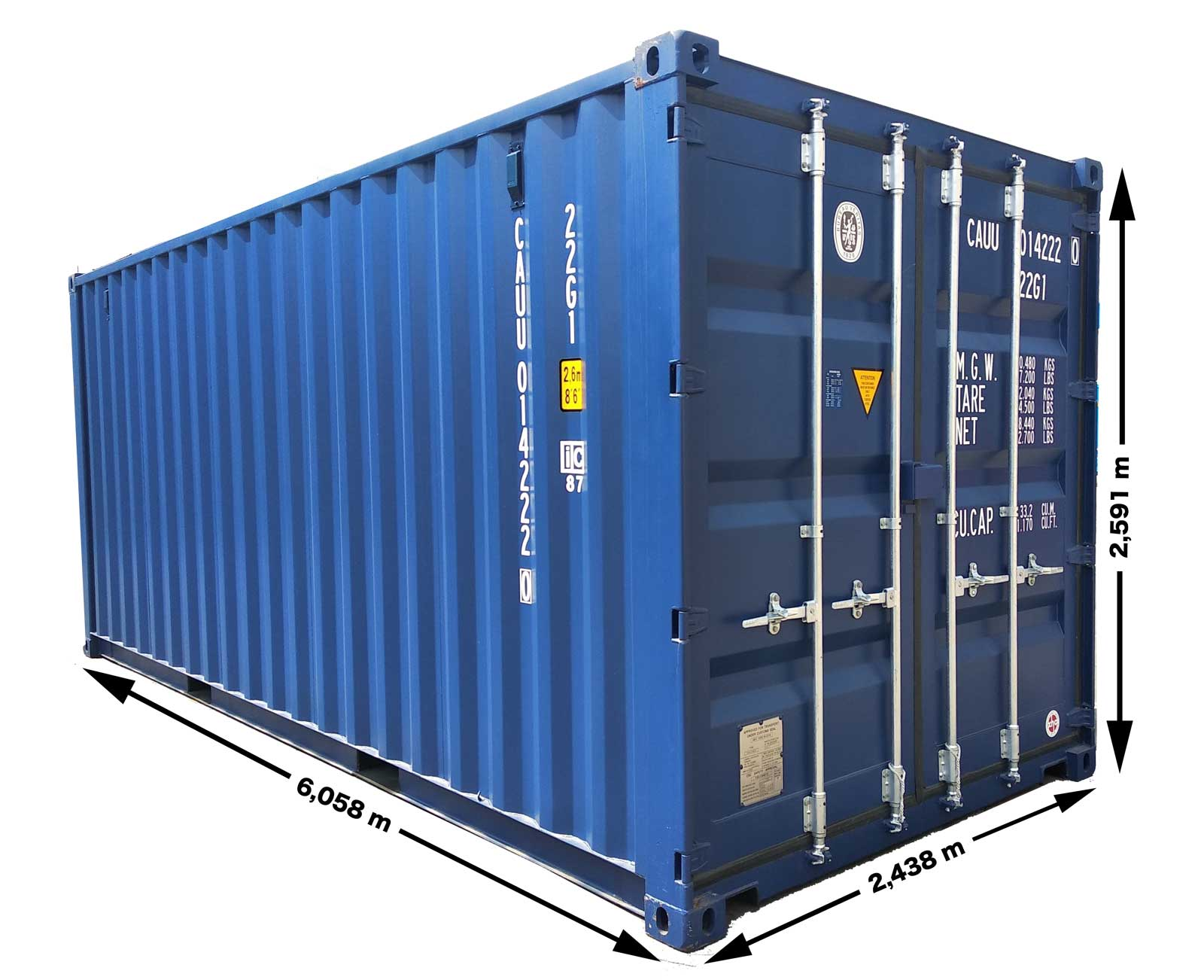 20 fods container mål