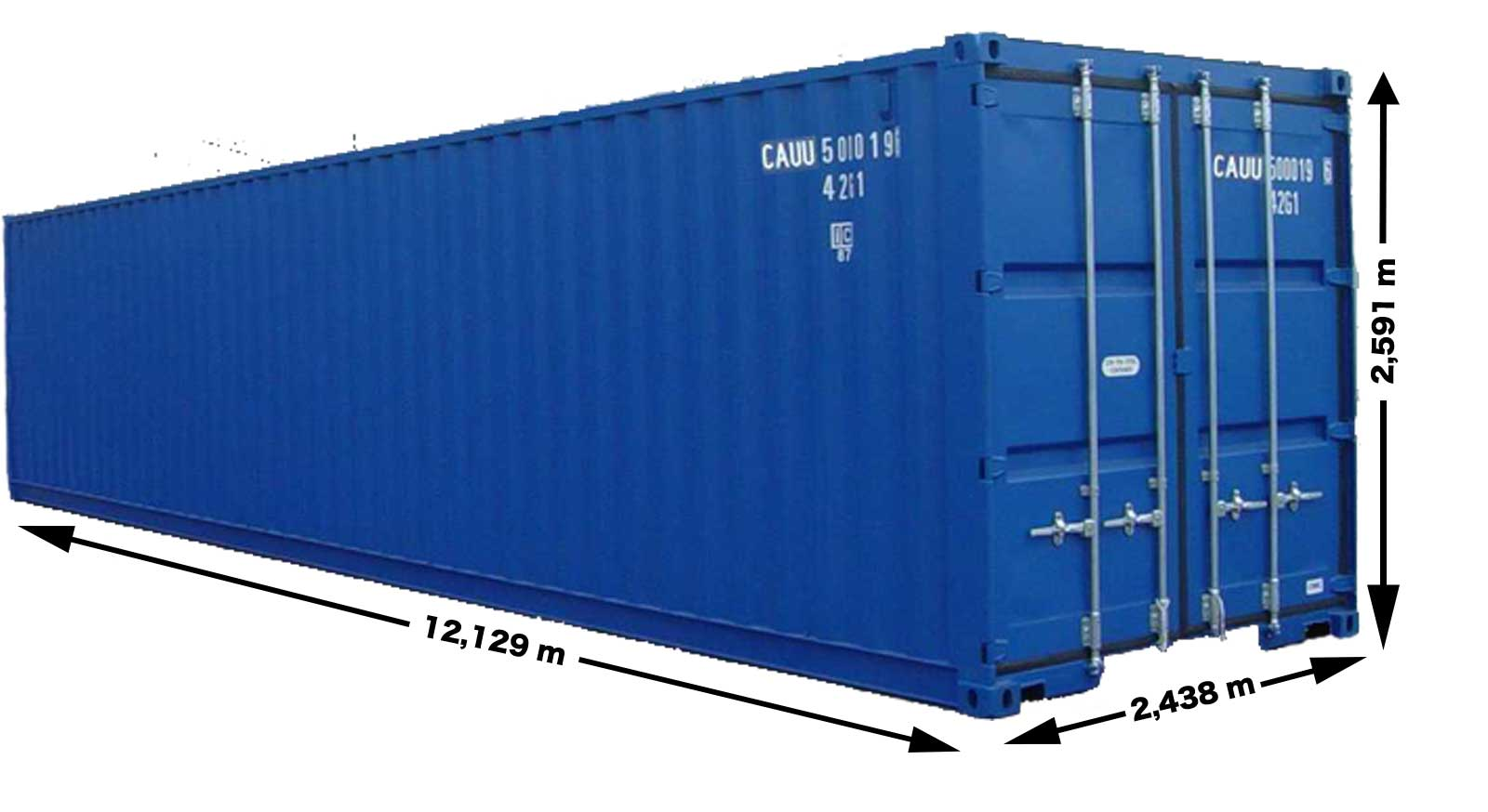 40 fods container mål